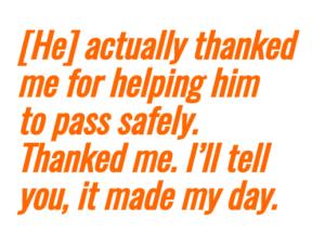 thanking bike commuter