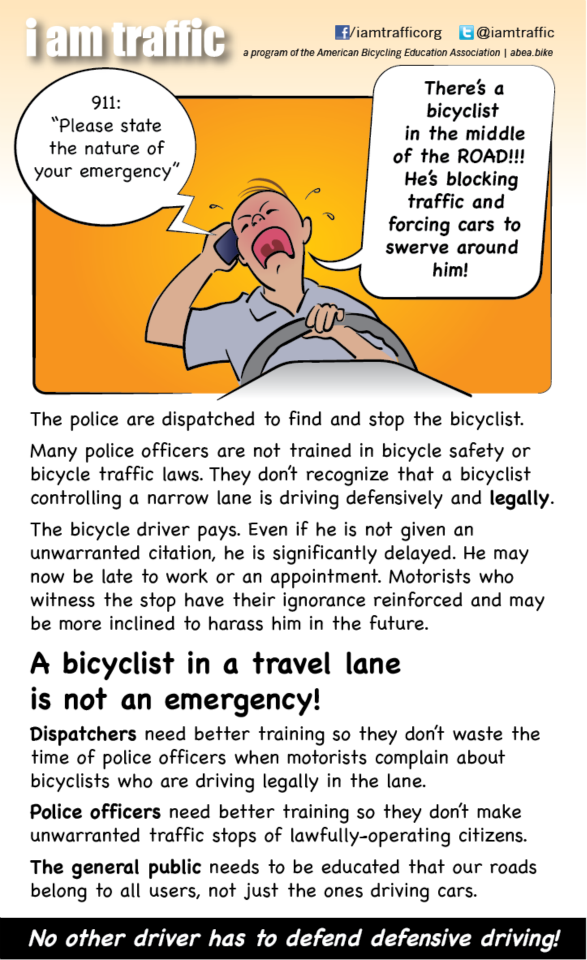 Graphic of motorist calling 911 on bicyclist. From iamtraffic.org