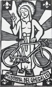 blessing bicyclists, patron saint cyclists, madonna del ghisallo