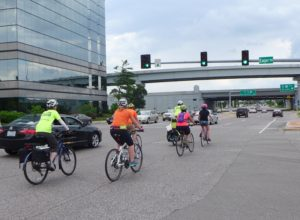 CyclingSavvy group rides on Brentwood Boulevard in St. Louis.