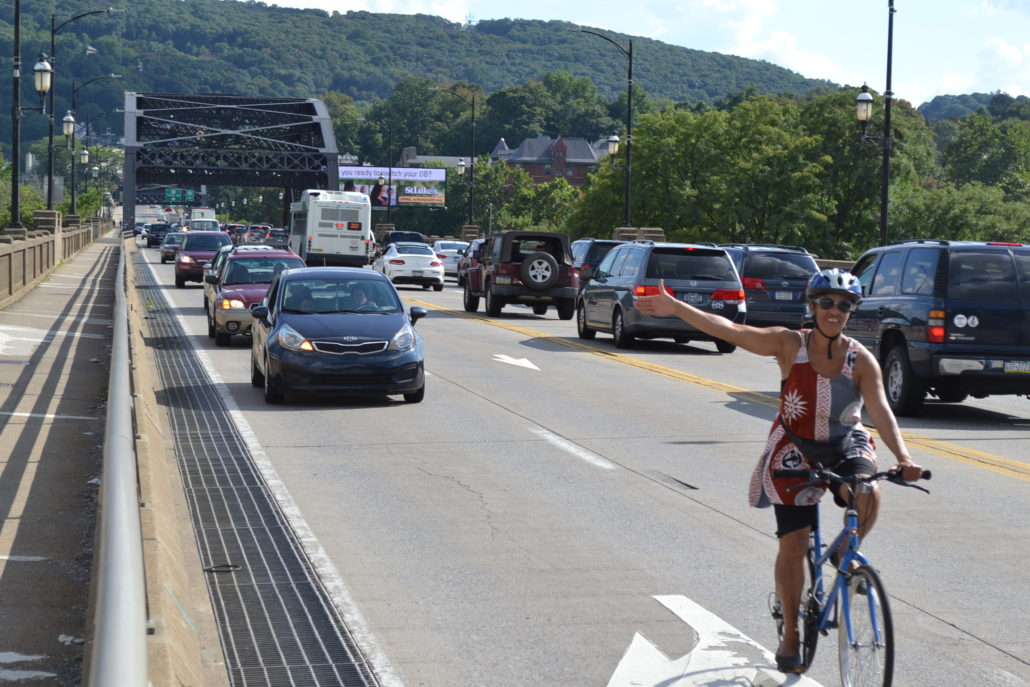 How a savvy cyclist uses the Hill-to-Hill Bridge in Bethlehem, PA.