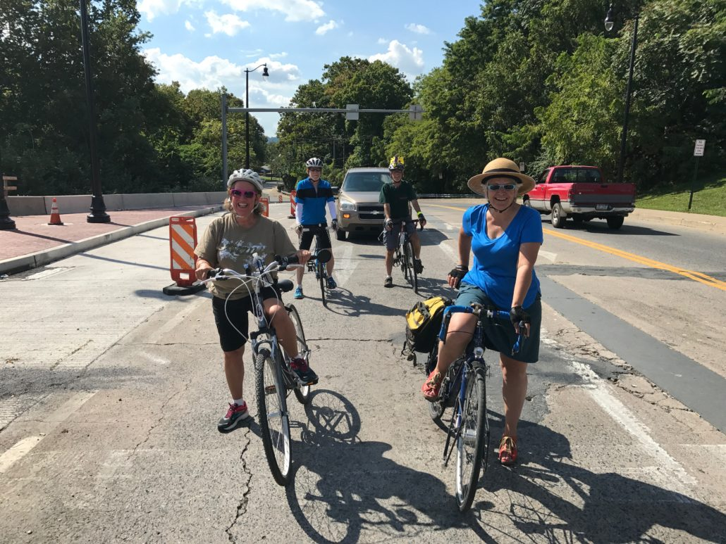 Cyclists waiting at a light on West Lehigh Street to turn onto the Fahy Bridge in Bethlehem, PA.
