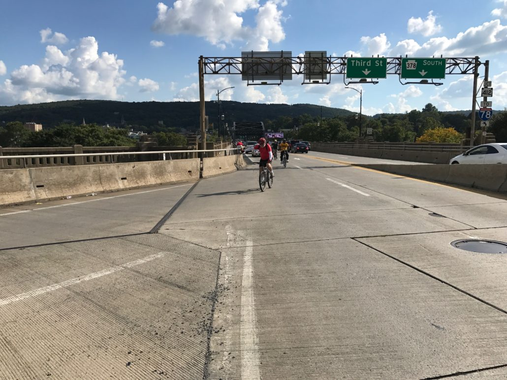 Riding bicycles on the Hill-to-Hill Bridge in Bethlehem, PA.