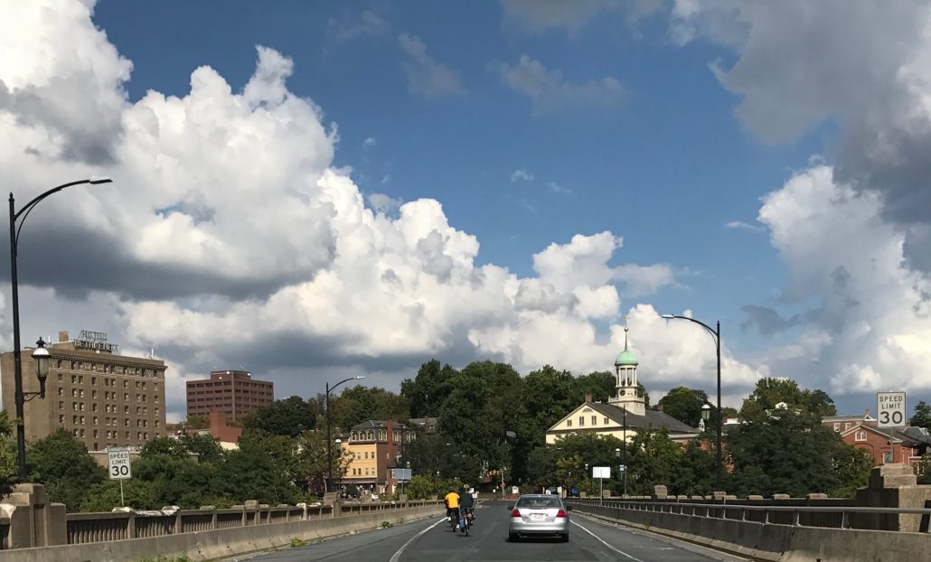Riding across the Hill-to-Hill Bridge into downtown Bethlehem, PA.