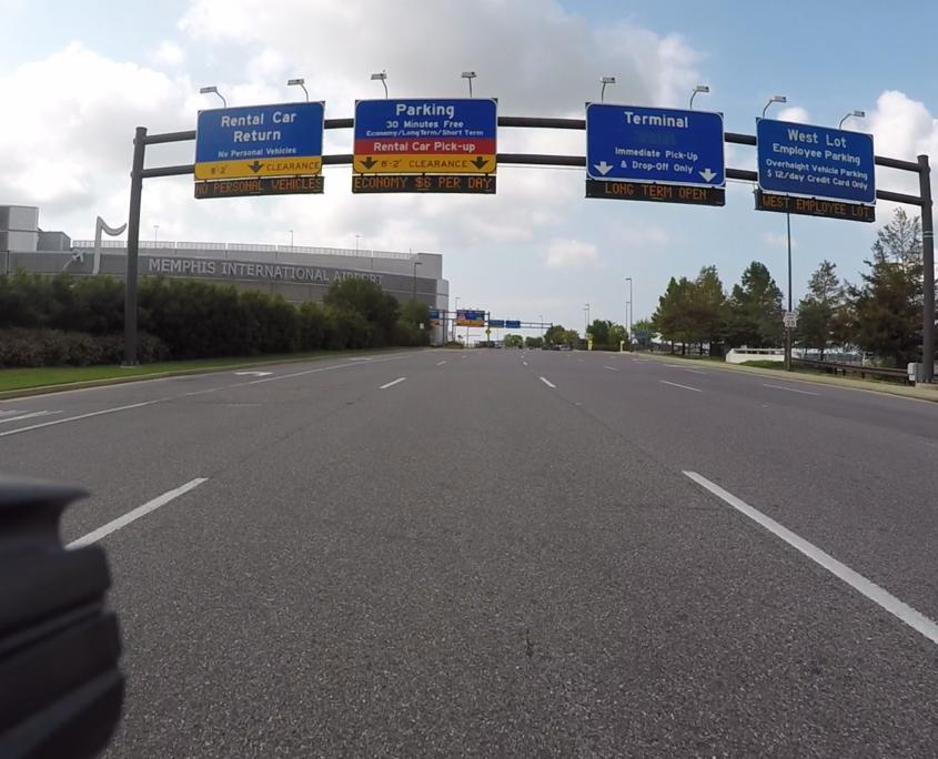 Riding a bike to Memphis International Airport.