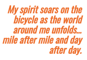highlighted text bicycling and soaring spirits