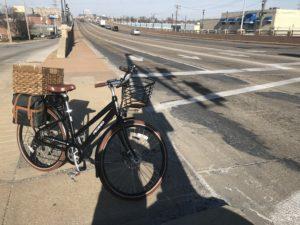 e-bike and empty arterial road
