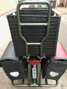 E-cargo bike pictured from the rear