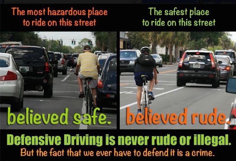 Best bicycling practices often counterintuitive.