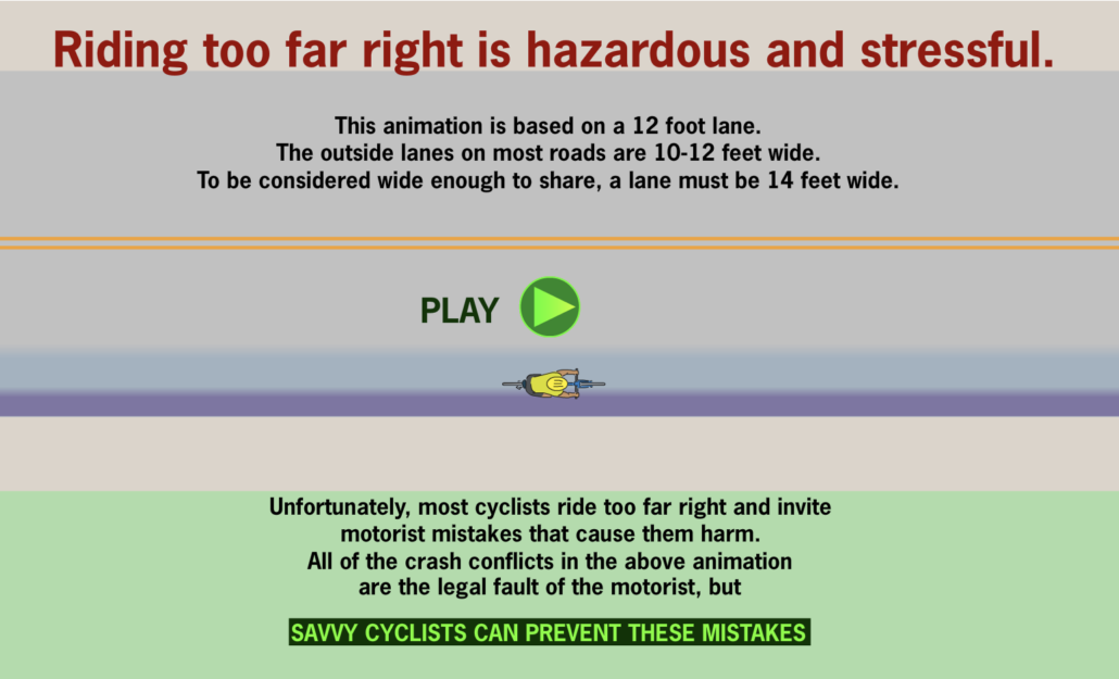 savvy cyclists avoid riding too far to the edge of the lane