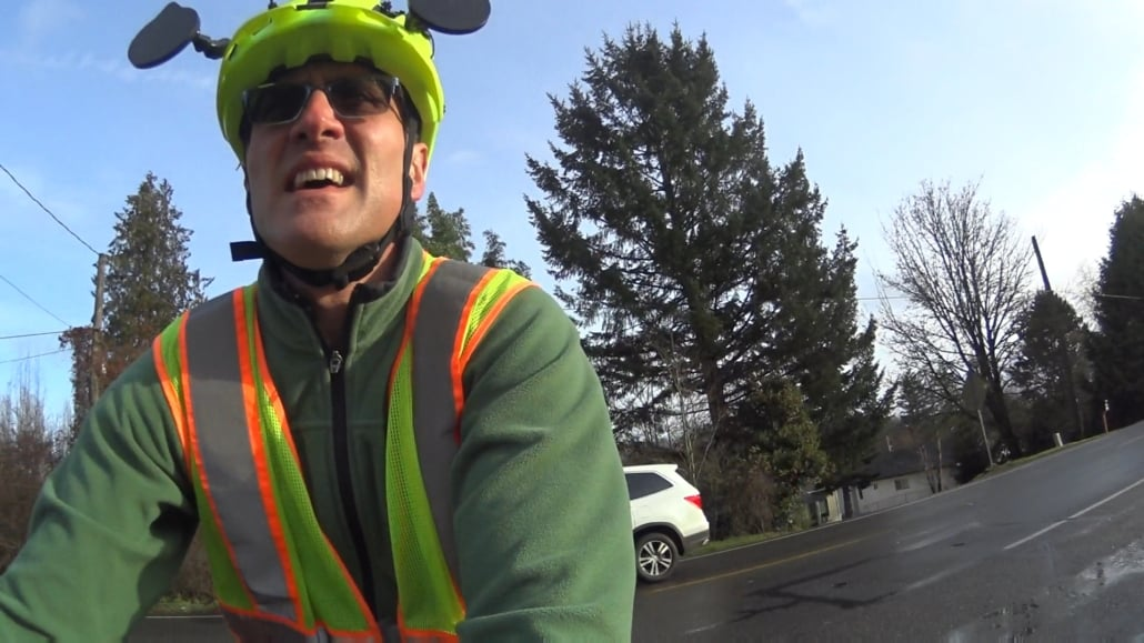 CyclingSavvy Instructor Brian Watson riding with his helmet mirrors.