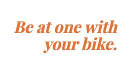 Caption that says: be at one with your bike