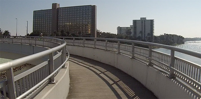 curvy bridge on bike path