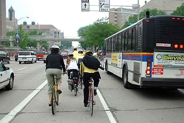 Bike lane to left of bus lane, Madison, Wisconsin, 2001