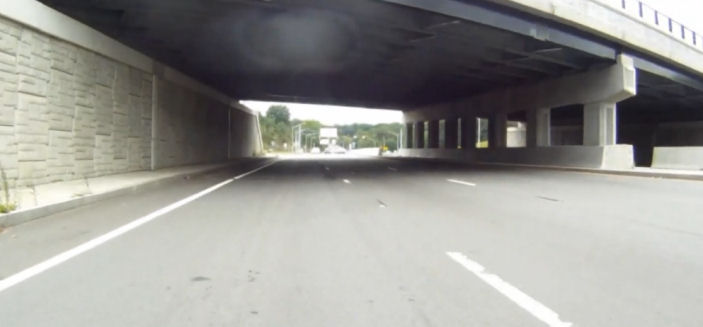 Underpass on Route 9, completely empty