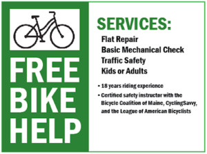 Sign advertising help including making bicycles safe to ride