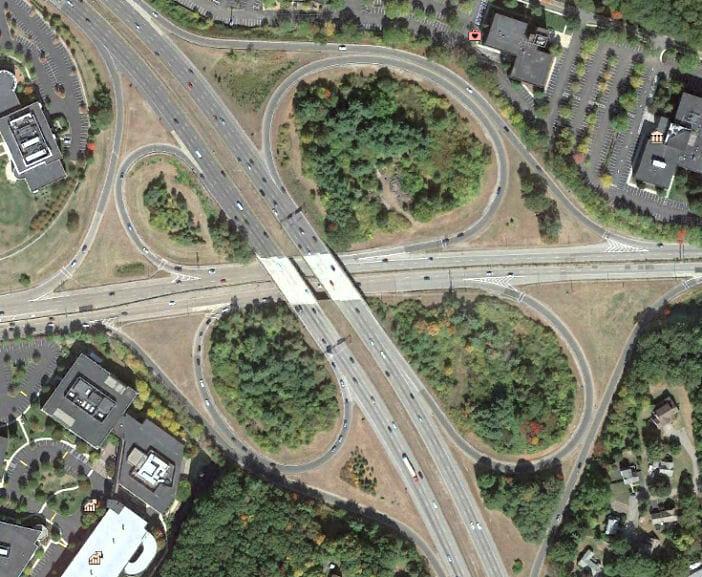 Full cloverleaf, original design of Route 9-Route 95 interchange