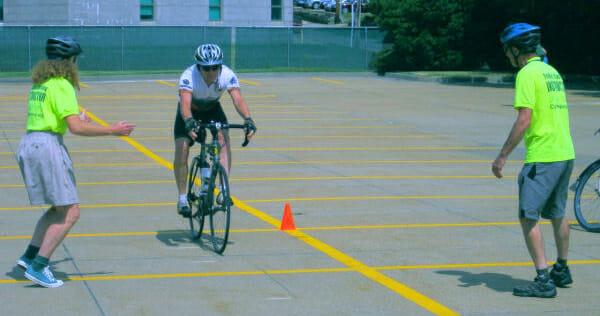 """Bicycling skills"""" braking practice."""