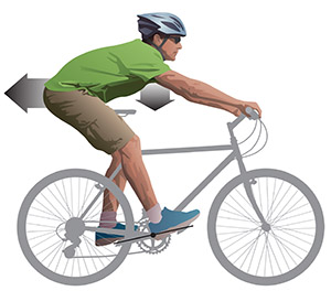 Braking body position illustration from Bicycling Street Smarts CyclingSavvy Edition for Kindle