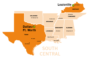South Central region map