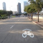 Shared lane markings on Victory Ave. (Dallas, TX)