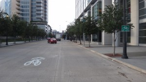 The sharrows move one lane to left