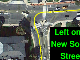 Left turn onto New South Street from Route 9 in Northampton