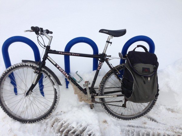 Bike at snowy bike rack