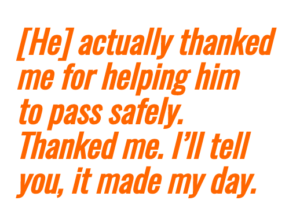thanking bike commuter