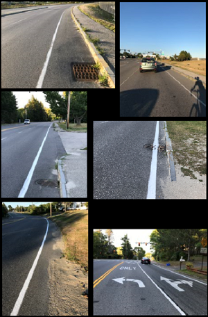 Montage of photos showing roadway on which John was riding.