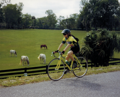 Photo of Carol Wilson riding the Trek bicycle that led her to the love of her life.