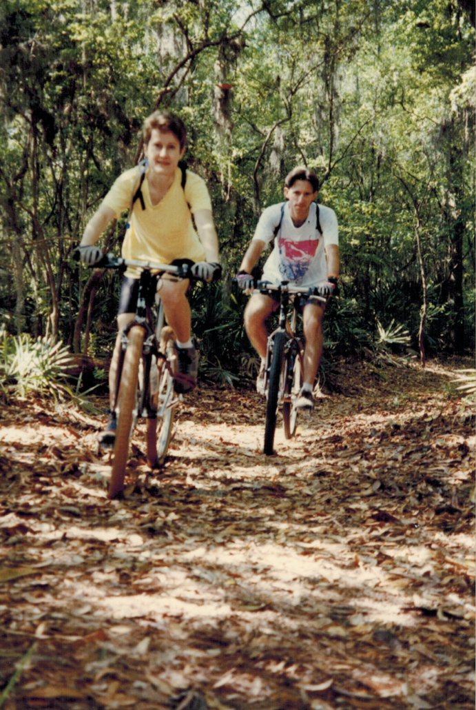 Photo of Carol & Mighk Wilson on mountain bikes at the Suwanee Bicycle Festival in North Florida.