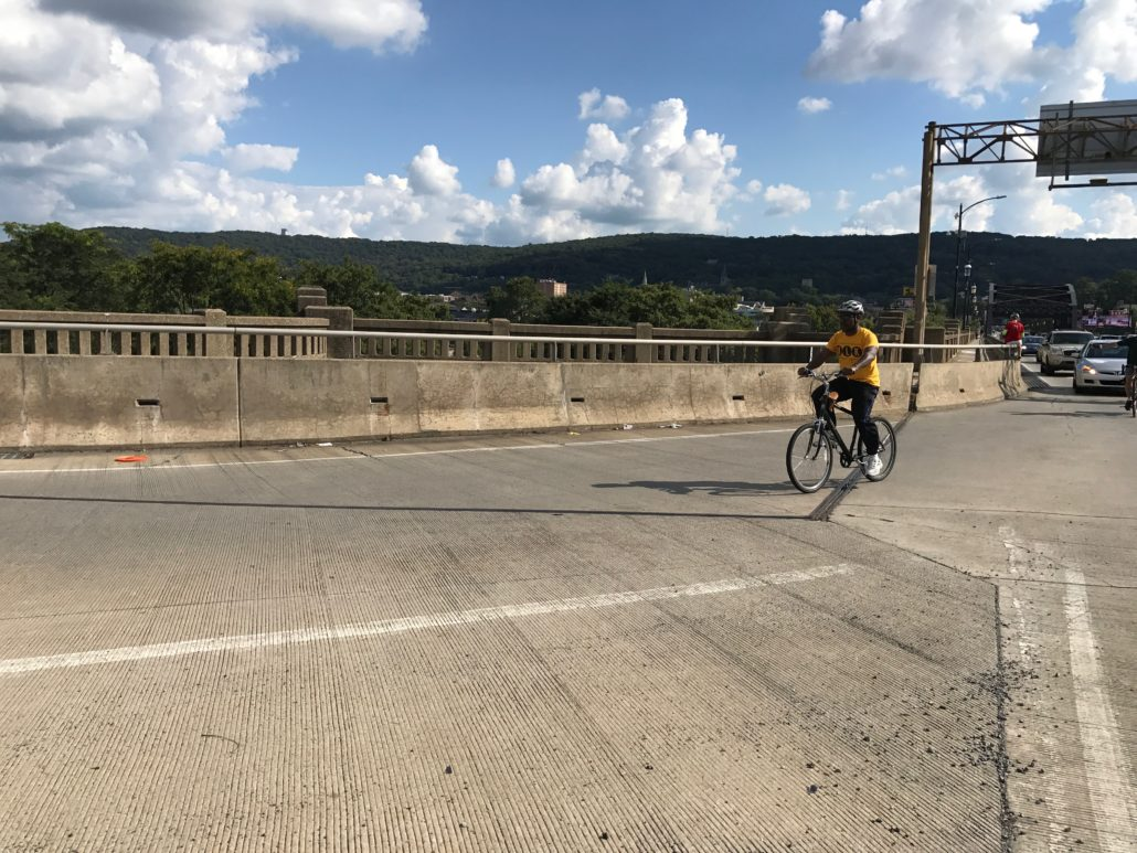 Gael Boucka riding his bicycle in Bethlehem, PA.