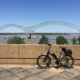 View of my bike and Hernando Desoto Bridge from Mud Island River Park in Memphis.