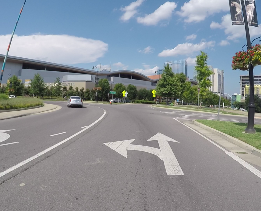 Riding a bike easily and safely on a multi-lane roundabout.