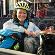 Katherine Tynan and her Brompton on public transit