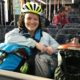 Katherine Tynan and her Brompton on public transit