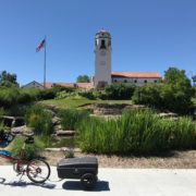 Bike Friday and its trailer at the base of Boise's historic train depot