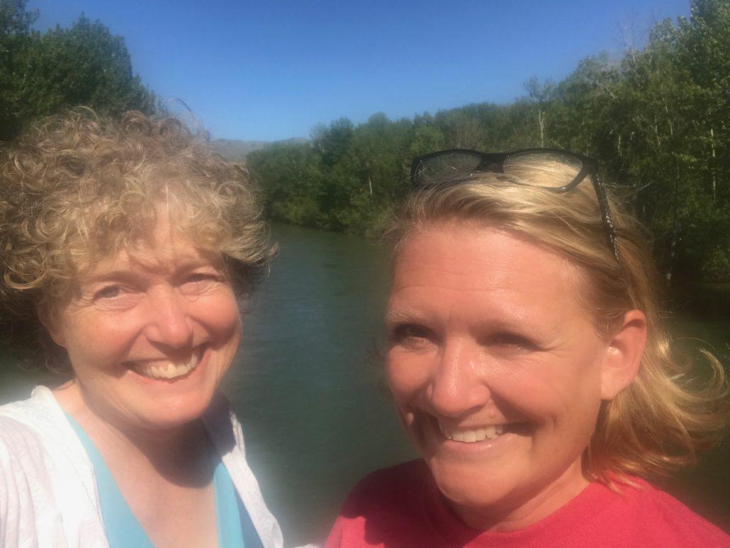 Karen Karabell and Lisa Brady on Boise River Greenbelt
