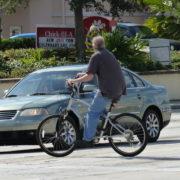 Bicyclist in crosswalk