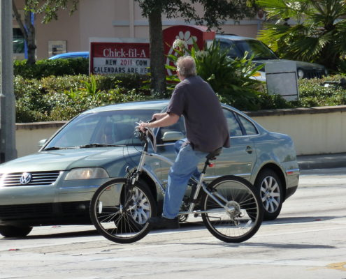 Bicyclist in crosswalk
