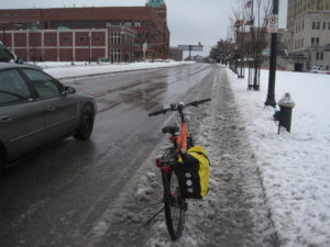 This bike lane is a slushy mess.