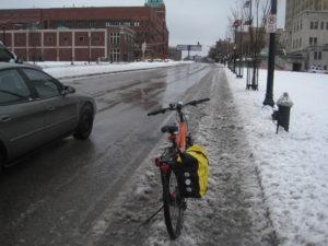 This bike lane is a slushy mess.