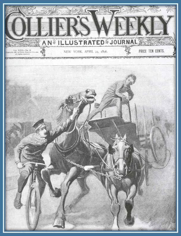 historic Collier's Magazine cover of stampeding horses