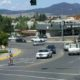 A savvy cyclist negotiates a complex intersection in Helena, MT.