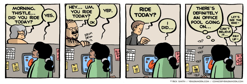 Comic strip: Co-workers can't believe she rode