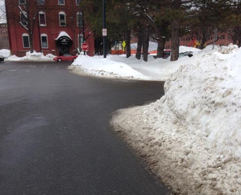 Snow pile on corner