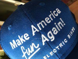 "cap says ""Make America Fun Again"" with bikes"