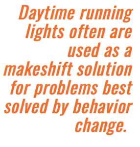 behavior more important for cyclist safety than daytime running lights