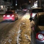 biking snowy streets